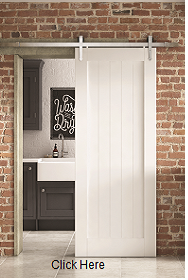 White Primed Cottage Sliding Barn Door -...