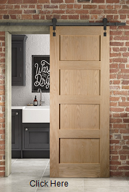 Oak Shaker 4 Panel Sliding Barn Door - J...