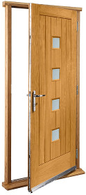 Oak Siena Doorset with Obscure Glass Pan...
