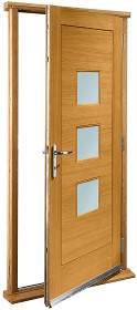 Oak Turin Doorset with Obscure Glass Pan...