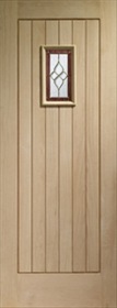 Oak Chancery Onyx - Brass Caming - Double Glazed - M&T - Unfinished - X