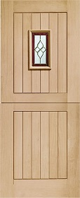 Oak Chancery Stable Door with Brass Caming - Unfinished - X