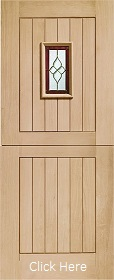 Oak Chancery Stable Door with Brass Caming - Unfinished - XL