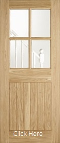 Oak Cottage Style 4L - Clear Double Glazed - Full Door - Unfinished - LPD