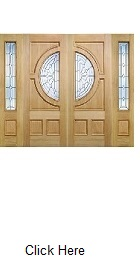 Oak Empress Pair with Zinc Clear Bevelled Glass and Matching Sidelights - LPD