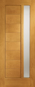 Oak Modena Door with Offset Obscure Glas...