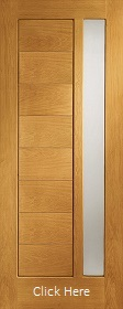 Oak Modena Door with Offset Obscure Glass - Prefinished - XL