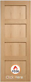 Oak Shaker 4 Panel - FD30 - 44mm - Solid Core - Unfinished - LPD