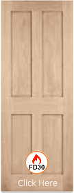 Oak London Fire Door - Flat Panel - FD30...