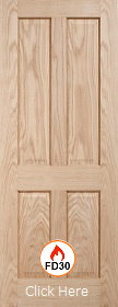 Oak Regency 4 Panel - FD30 - 44mm - Solid Core -Unfinished -   LPD