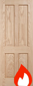 Oak Regency 4 Panel - FD30 - 44mm - Unfinished -   LP