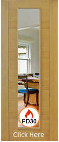 Oak Open Trend Style with Clear Flat Glass - 44mm - FD30 - Pre Finished - Channel Groove - DG