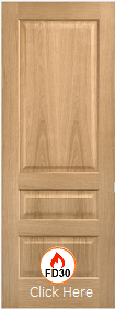 Oak Contemporary 3 Panel -  FD30 - Solid Core - Pre Finished - LP