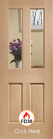 Oak Malton with Clear Glass and non Raised Mouldings - FD30 - 44mm - Unfinished  - XL