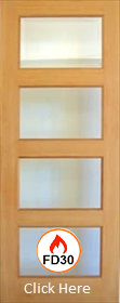 Oak Pattern 50 - Mersey with Clear Flat Fire Glass FD30 - Unfinished - DG