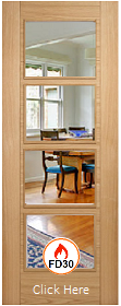 Oak Vancouver Glazed - FD30 - 44mm - Prefinished - LPD