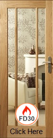 Oak Worcester - Clear Fire Glass - FD30 - 44mm - Unfinished - XL