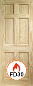 Clear Pine Colonial 6 Panel - FD30 - 44mm - X