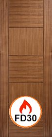 Walnut Quebec Fire Door -  Pre Finished - FD30 - LP