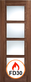 Walnut Vancouver with Clear Glass - 44mm - FD30 - Pre Finished - LP