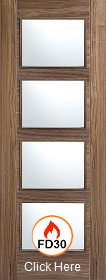 Walnut Vancouver FD30 with Clear Fire Glass - 44mm - Prefinished - LPD