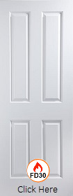 White Primed Atherton 4 Panel - FD30 - 44mm - Smooth - JW