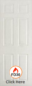 White Primed Arlington 6 Panel - 35mm - Solid Core -  FD30 - Smooth Surface - JW