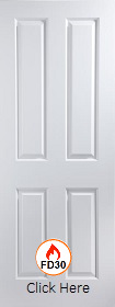 White Primed Oakfield 4 Panel - Woodgrain - FD30 - 44mm - JW