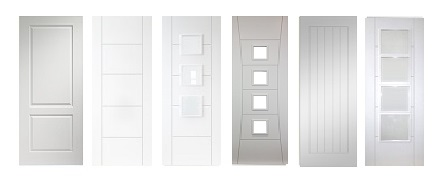44mm and 54mm White Contemporary Fire Doors FD30