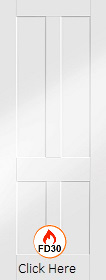 White Primed Victorian Shaker  - FD30 - 44mm - XL