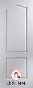 White Primed Classique 2 Panel - FD30 - 44mm - Woodgrain - XL