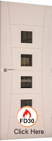 White Primed Pamplona with Clear Glass - FD30 - 44mm - DE
