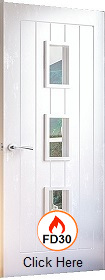 White Primed Ely with Clear Fire Glass - FD30 - 44mm - DE