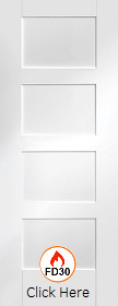 White Primed Shaker 4 Panel - FD30 - 44mm -  XL
