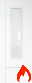 White  Primed Trend 1 Light - FD30 - Clear Flat Glass -DF