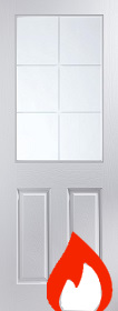 White Primed 6 Light - Etched Glass - Smooth Finish -FD30 - 44mm  JW