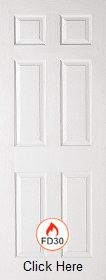White Primed 6 Panel Textured - Solid Co...