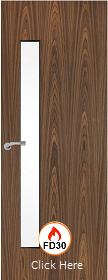 Walnut Vertical 25G with Clear Fire Glass - FD30 - 44mm - Finished