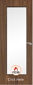 Walnut Vertical 19G with Clear Fire Glass - FD30 - 44mm - Finished