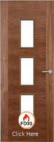 Walnut 2 Stile 23G with Clear Glass Panels - 44mm - FD30 - Finished