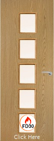 Oak Vertical  10G with Clear Fire Glass - FD30 - 44mm - Finished - P