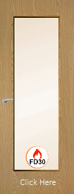 Oak Vertical 19G with Clear Fire Glass - FD30 - 44mm - Finished - P