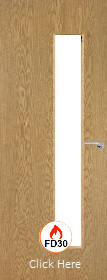 Oak Vertical 25G with Clear Fire Glass - FD30 - 44mm - Finished - P