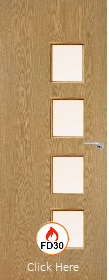 Oak Vertical 26G with Clear Fire Glass - FD30 - 44mm - Finished - P