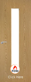 Oak Vertical 29G with Clear Fire Glass - FD30 - 44mm - Finished - P