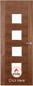 Walnut 2 Stile 22G with Clear Glass Panels - 44mm - FD30 - Finished