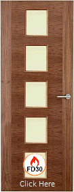 Walnut 2 Stile 10G with Clear Fire Glass - 44mm - FD30 - Finished