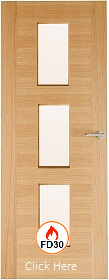 White Oak 2 Stile 23G with Clear Glass -  FD30 - 44mm - Finished