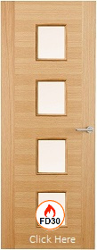 Oak Two Stile 23G with Clear Glass - FD3...
