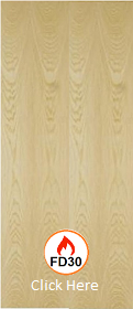 Ash - Real Wood Veneer Flush - FD30 - 44mm - Unframed - JW
